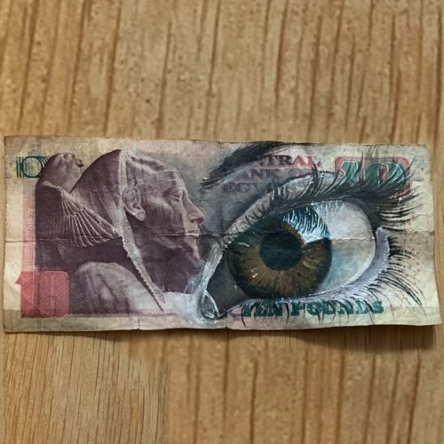 street art on banknote