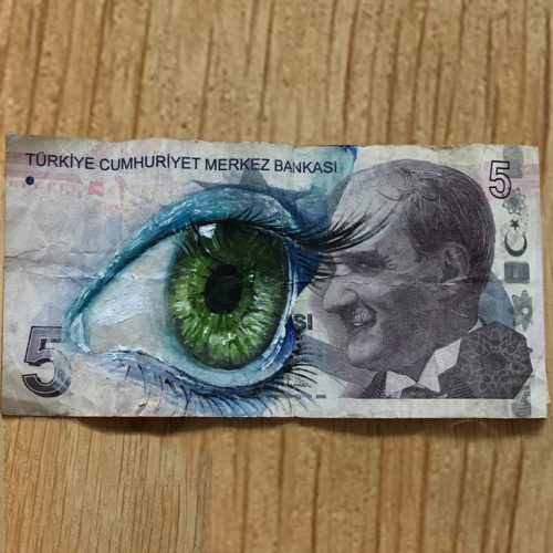 street art on banknote Turkey 5 lira