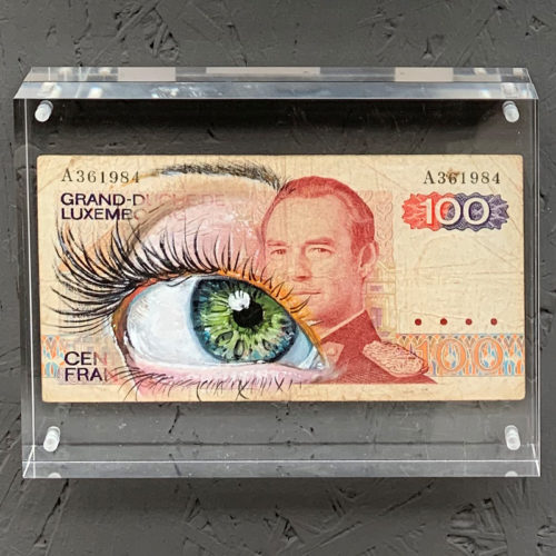 Oil paint on banknote Luxembourgh