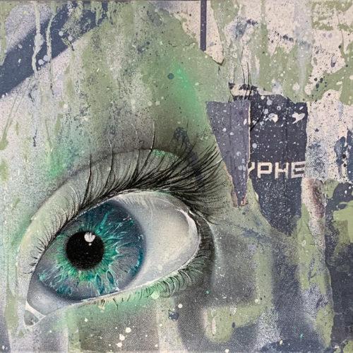 GOMAD streetart canvas painting eye oilpaint graffiti mural miami bombshelter