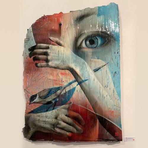 torn paper art urban fine art eye bird