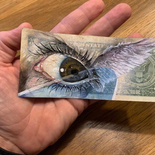 gomad street art on dollar banknote sakura galerie paris
