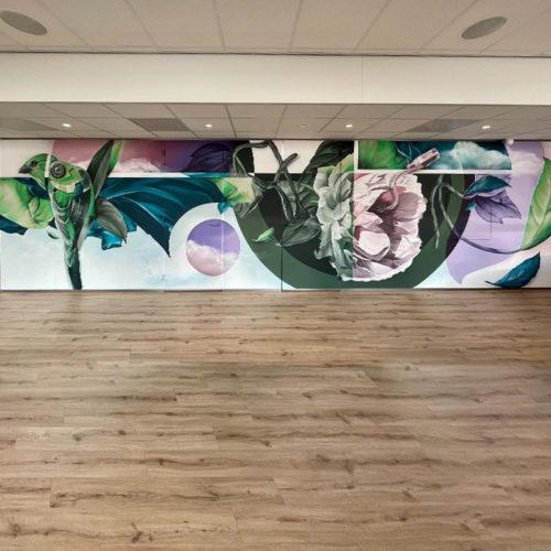 gomad openline ict muurschildering bedrijfskantine maastricht airport